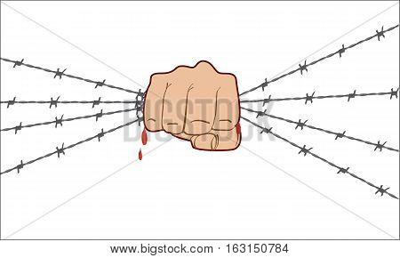 Fist up power. Hand holding barbed wire and breaks it. Fight for freedom. Concept of protest, revolution, refugee. Social theme. Flat color style