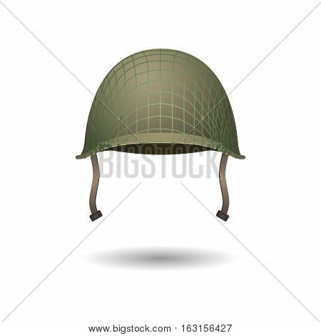 Military classical helmet design with projection lines. Development of military uniform. Front view. Metallic army symbol of defense. Army helmet isolated on white. War armor hat. Vector illustration