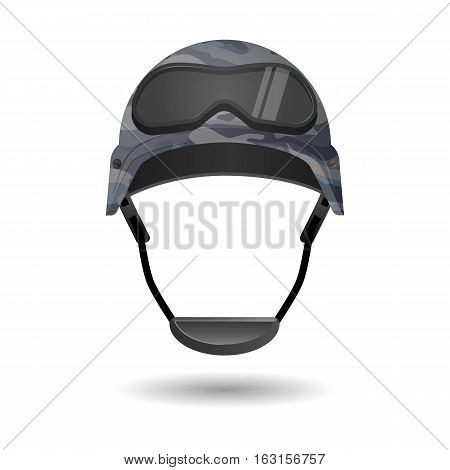 Military equipment for games. Helmet with glasses headwear element. Protective gear during conflicts. Symbol of army forces. Armor cap with goggles. Realistic part of uniform. Vector illustration