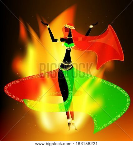 dark background with flame and abstract dancing oriental girl