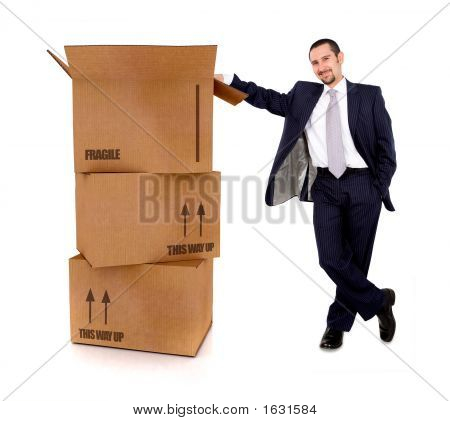 Business Man With Card Board Boxes