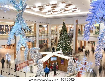 NOTTINGHAM ENGLAND - DECEMBER 20: Interior at Christmas of INTU Victoria Centre shopping mall. In Nottingham England. On 20th December 2016.