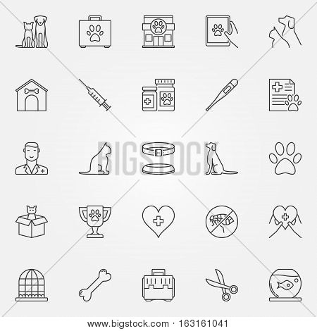 Veterinary line icons. Vector set of vet, pet and veterinary clinic creative symbols in thin line style