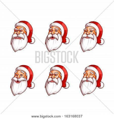 Santa Claus emotions pack. Happiness, resentment, surprise, calm, peace coolness tired rage anger Part 1 EPS10
