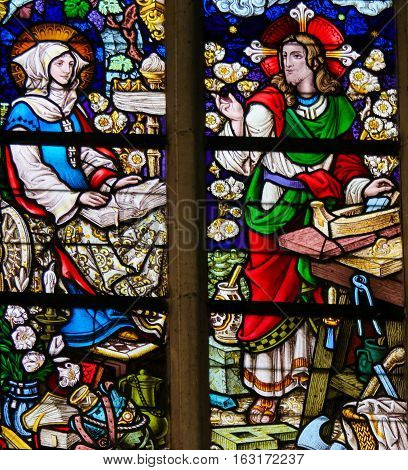 Stained Glass - Jesus Christ As A Carpenter