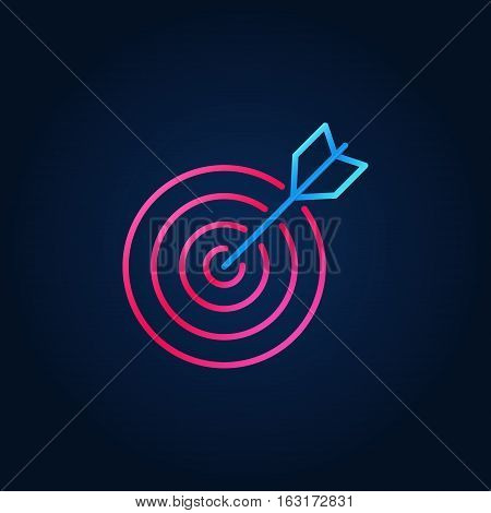 Colorful goal icon. Vector thin line target creative symbol on dark background