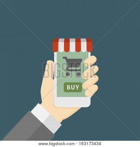 Online Store On Smartphone Illustration, Hand Holding Smartphone with online store decoration