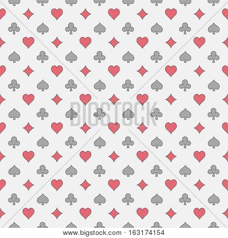 Colorful card suits pattern. Vector seamless gambling texture. Poker and casino background
