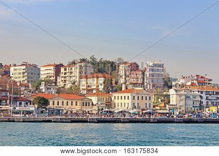 ISTANBUL, TURKEY - MARCH 30, 2013: Istanbul Coast Asian side saw from Bosphorus, Turkey