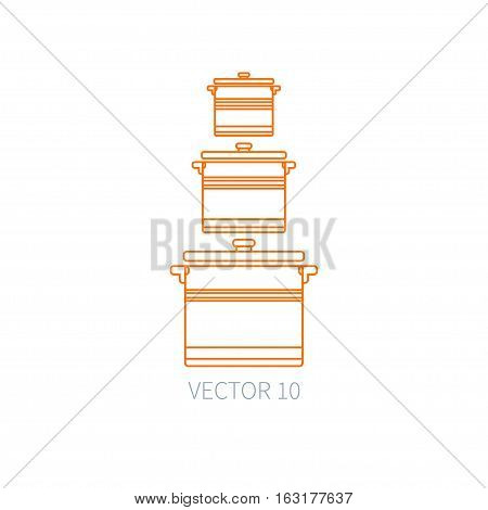 Line flat vector kitchenware icons - pan, pot. Cutlery tools. Cartoon style. Illustration, element for your design. Equipment for food preparation. Kitchen. Household. Cooking. Cook. Set.