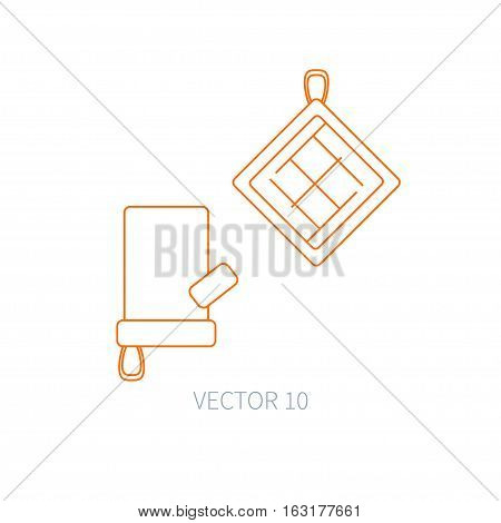 Line flat vector kitchenware icons - oven-glove. Cutlery tools. Cartoon style. Illustration, element for your design. Equipment for food preparation. Kitchen. Household. Cooking. Cook. Potholder.