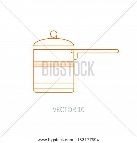 Line flat vector kitchenware icons - pan, pot. Cutlery tools. Cartoon style. Illustration, element for your design. Equipment for food preparation. Kitchen. Household. Cooking. Cook. Stove.