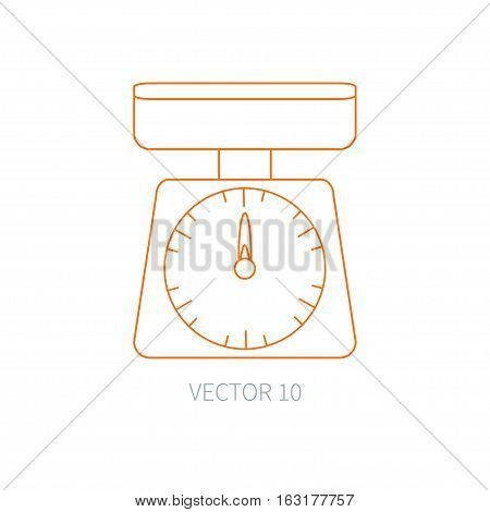 Line flat vector kitchenware icons - kitchen scales. Cutlery tools. Cartoon style. Illustration, element for your design. Equipment for food preparation. Kitchen. Household. Cooking. Cook. Weigh.