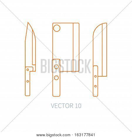 Line flat vector kitchenware icons knife, chopper, backsword. Cutlery tools. Cartoon style. Illustration, element for your design. Equipment for food preparation. Kitchen. Household. Cooking. Cook.