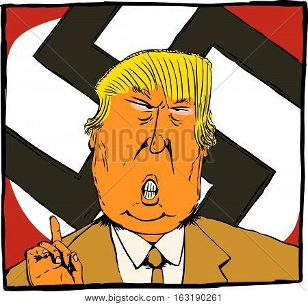 Dec. 27 2016. Cartoon caricature of President Elect Donald Trump as an orange colored Nazi leader