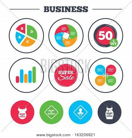 Business pie chart. Growth graph. Baby on board icons. Infant caution signs. Child pacifier nipple. Pregnant woman dress with big belly. Super sale and discount buttons. Vector