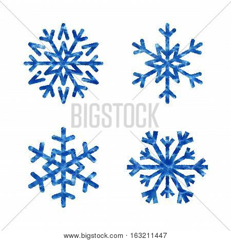 Christmas Mosaic Snowflakes Set Isolated Illustration