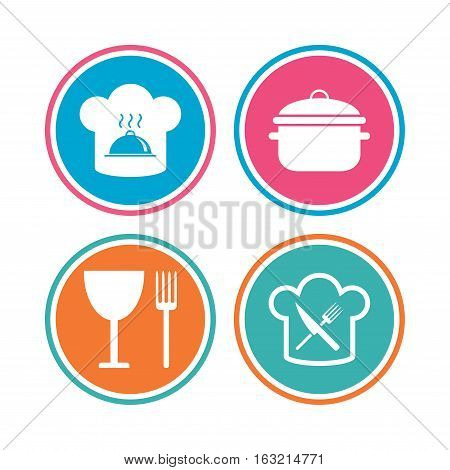 Chief hat and cooking pan icons. Crosswise fork and knife signs. Boil or stew food symbols. Colored circle buttons. Vector