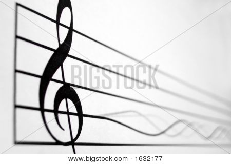 Treble Clef In Score And A Vibrating String