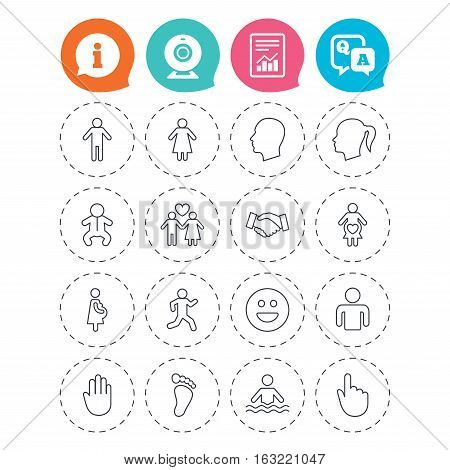 Human icons. Male and female symbols. Infant toddler and pregnant woman. Happy smile face. Success deal handshake. Information, question and answer icons. Web camera, report signs. Vector