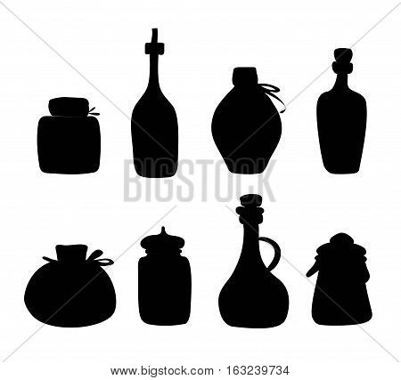 Hand drawn Jar vector set. Black silhouette  jars and bottles isolated on white background.