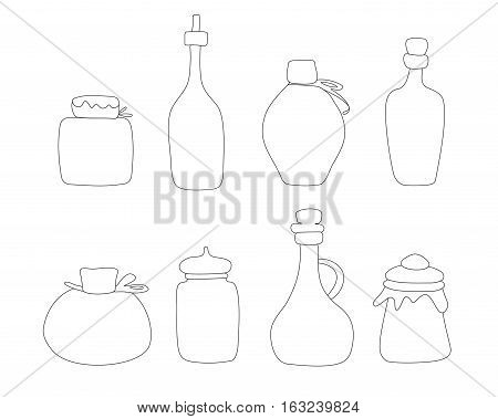 Hand drawn Jar vector set. Sketched jars and bottles isolated on white background.