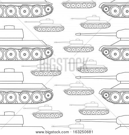 Outline Seamless Pattern Tanks Victory Celebration Defender Of The Fatherland Day Vector Illustratio