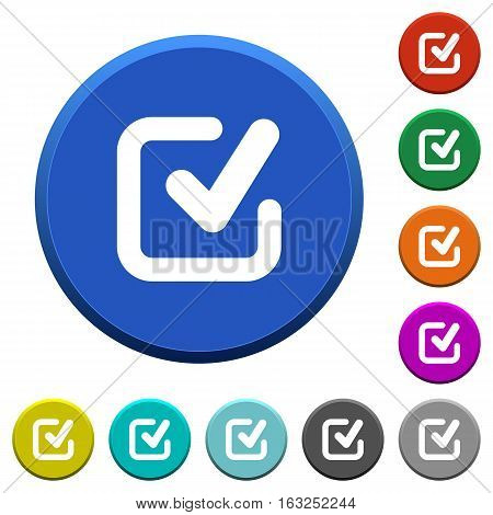 Checkmark round color beveled buttons with smooth surfaces and flat white icons