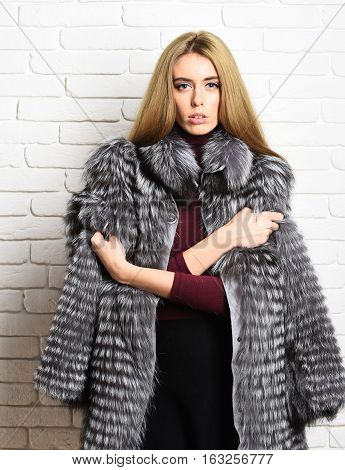 fashionable sexy pretty rich woman or glamour model girl with beautiful long blonde hair in waist coat of grey fur with burgundy sweater on brick wall studio background copy space