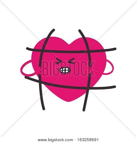 Fashion patch heart, that breaks the bars imprisoned.Message the freedom of love.Vector illustration isolated on white background.sticker, pin, LGBT symbol, icon, sign, cartoon 80s-90s comic style