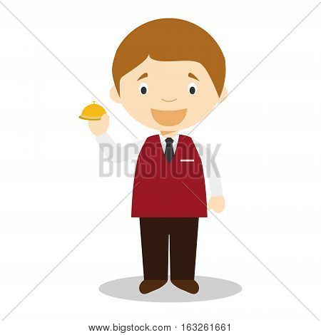 Cute cartoon vector illustration of a recepcionist