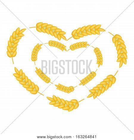 Ears wreath in heart shape icon. Cartoon illustration of ears wreath in heart shape vector icon for web design