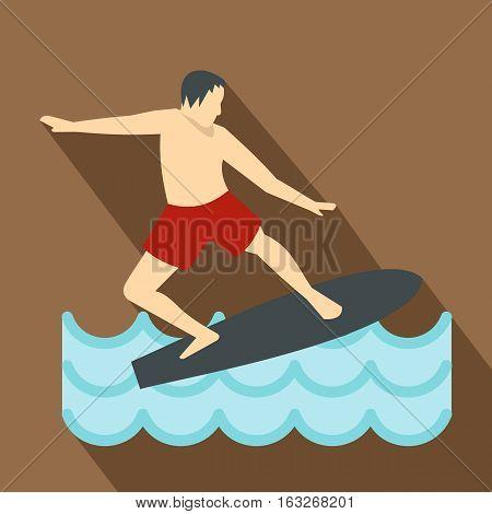 Surfer man on surfboard icon. Flat illustration of surfer man on surfboard vector icon for web