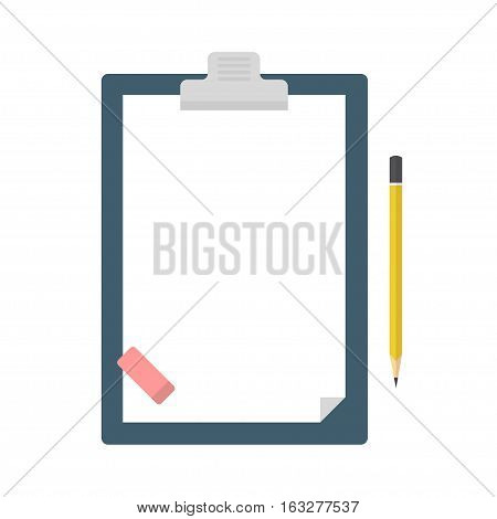 Clipboard with blank sheet of paper a pencil and the eraser in flat style. Blank clipboard for lists surveys or plans.