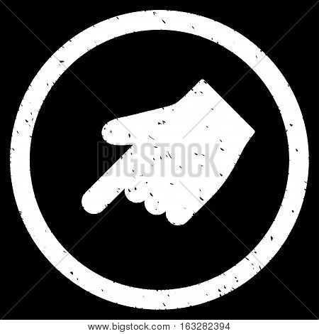 Index Finger Left Down Direction rubber seal stamp watermark. Icon vector symbol with grunge design and corrosion texture. Scratched white ink emblem on a black background.