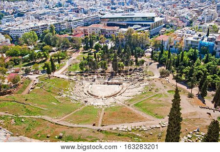 Theater of Dionysus (top view), Athens, Greece