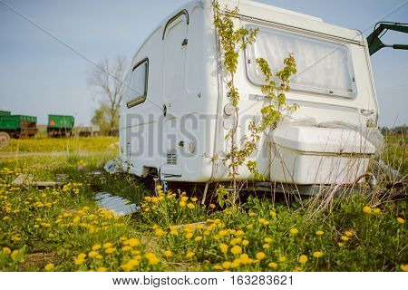 Old Forgotten Travel Trailer Camping