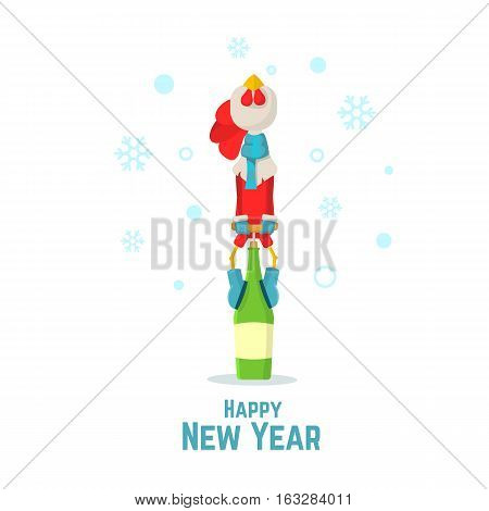 Happy New Year. Red Cock Symbol 2017 Opens A Bottle Of Champagne. Cartoon Rooster. Flat Vector Illus