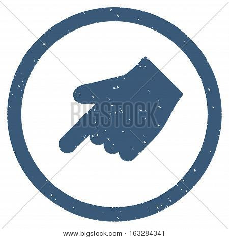 Index Finger Left Down Direction rubber seal stamp watermark. Icon vector symbol with grunge design and dust texture. Scratched blue ink sign on a white background.