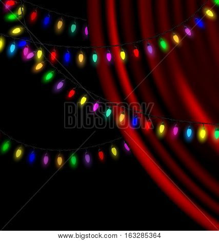 black background, dark crimson drape and the colored light garland