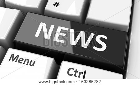 News key on the computer keyboard three-dimensional rendering 3D illustration