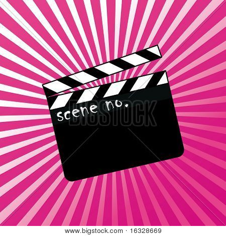 Open clapboard on red