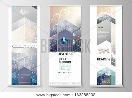 poster of Set of roll up banner stands, flat design templates, abstract geometric style, modern business concept, corporate vertical vector flyers, flag banner layouts. DNA molecule structure on blue background. Scientific research, medical technology.