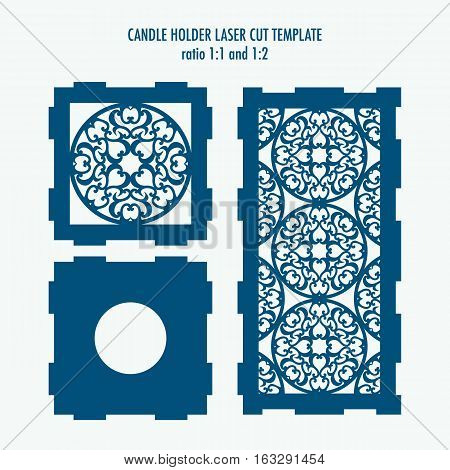 Laser cut template for candle holder. DIY laser cutting template for diy interior elements wood carving paper cutting scrapbooking