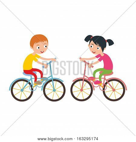 Activity boy and girl on bike young fun sport. Little kid cyclist healthy childhood leisure. Happy child active lifestyle cartoon recreation vector illustration.