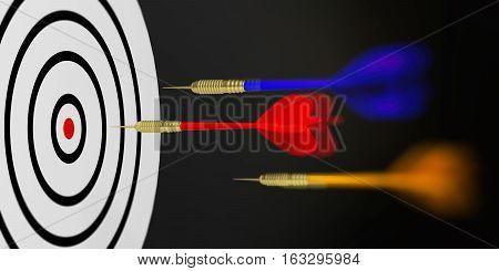 3D Rendering Darts Aiming Target On Black Background