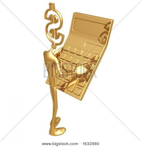 Dollar Holding Giant Golden Calculator
