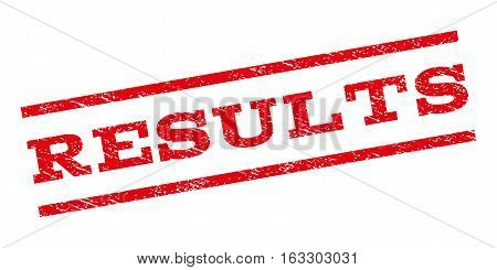 Results watermark stamp. Text tag between parallel lines with grunge design style. Rubber seal stamp with unclean texture. Vector red color ink imprint on a white background.