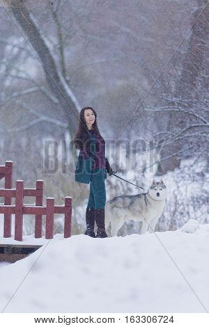 Animals and Pets Concept and Ideas. Pretty Tranquil Caucasian Brunette With Her Husky Dog during a Stroll in Winter.Vertical Shot