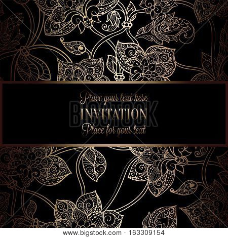 Intricate Background With Antique, Luxury Black And Gold Vintage Frame, Victorian Banner, Damask Flo
